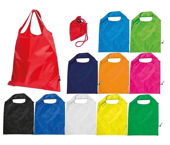190T polyester shopping bag with carry straps - compactly folds