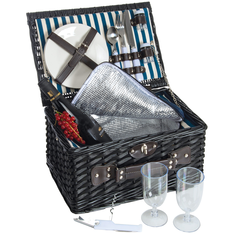 Wicker picnic set for 2 - with cooler compartment, plastic glass