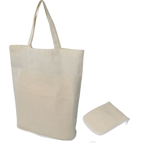 Fold-up cotton shopper (140g / m²) with carry handle.