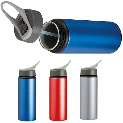 600ml metal vacuum drinking bottle with integrated straw