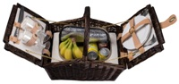 Willow picnic basket for 2 with cooler compartment and Porcelain