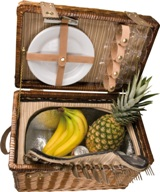 Picnic in style with this wicker picnic basket for 4. Features a