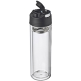 600ml GLASS double walled drinking bottle with a sieve and a car