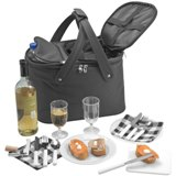 Picnic cooler with table- and drinkware for 2.