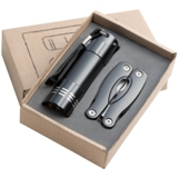 Gift set with a 9 LED aluminium torch and a multitool packed in