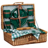 Woven picnic basket - set of 4 in green and white check trim