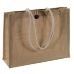 Jute bag with robust cord grips and loop closure.