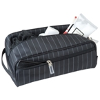 "Pinstripe pattern ""easy care"" 190T nylon toiletry bag."