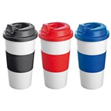 500ml plastic thermal mug with anti-burn silicone grip.