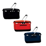 Cooler basket with zip closure and aluminium handles. Folds up f