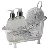 Ladies gift set in a re-usable acrylic bath tub. Features a mass