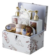 Ladies Gift set with vanilla/brown sugar scented bubble bath, sh
