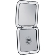 Fold-up plastic mirror-standard and 3x magnifying mirror.