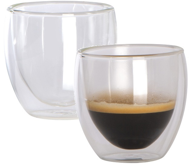 Double walled glass espresso cups - set of 2
