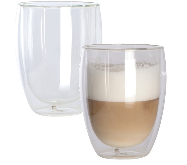 Double walled glass cappuccino cups - set of 2