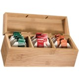 Bamboo tea box. Excludes tea bags.