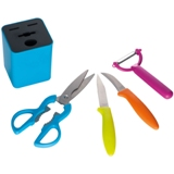 Kitchen set with a peeler, scissors, peeling knife and vegetable