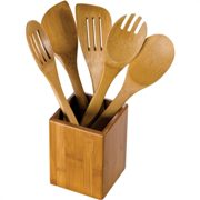 6-piece Bamboo utensil set in holder.