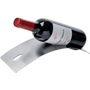 Stainless steel wine bottle holder.