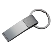 Slanted metal key ring in a gun metal colour finish - supplied i