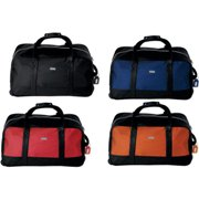 Travel bag with telescopic handle and carry straps.