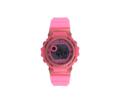 Digi-Midsize 30 M-WR Pink/Rose Lds Rnd Watch