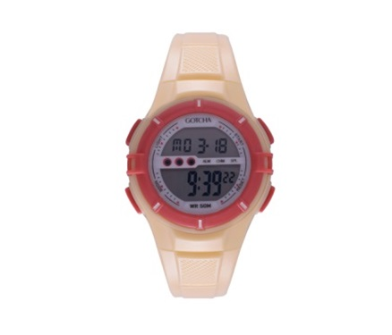 Digi-Midsize 50M-WR Yellow/Coral Lds Rnd Watch