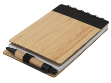 Wood Pocket Notepad, Sticky Memo & Pen- Avail in: Black or Green