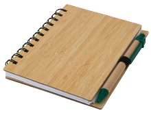 Wood Mid-Size Notebook & Pen- Avail in: Black or Green