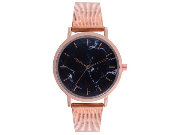 Ash Black Wrist watch - Rosegold Mesh