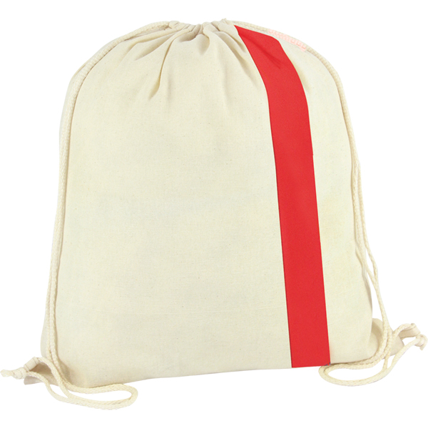 150g Cotton drawstring bag with coloured stripe