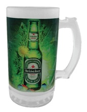 Frosted beer mug with full color print