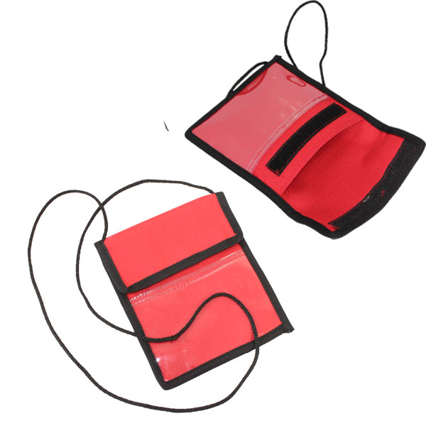 Conference Pouch and Cord. Available black, white, red or blue