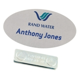 Full colour Oval name badge with magnet or pin