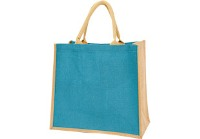 Colour-Jute Shopper - Available: aqua, blue, khakhi, orange, red