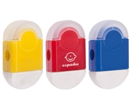 Duo Eraser & Sharpener - Avail in: Red, Yellow or Blue