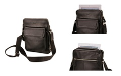 Leather Courier Cross Body BagBlack