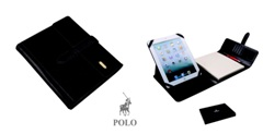 Polo Suede Leather Ipad Cover with TabBlackSuitable for most Ipa