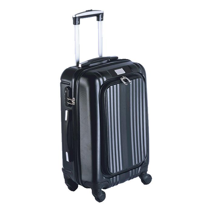 Hard Shell Trolley Luggage Bag With Front Pocket - Avail in: Bla