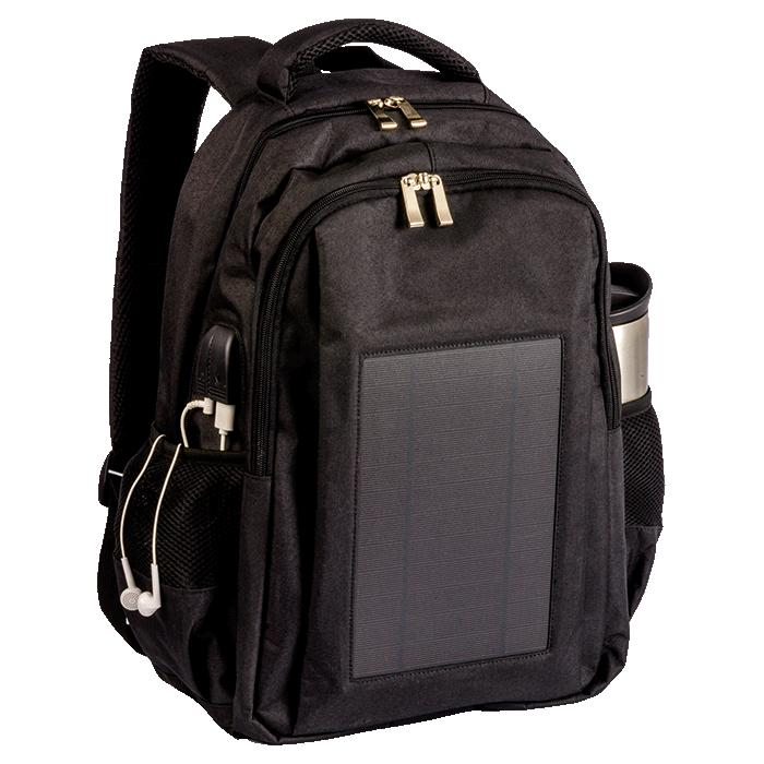 Solar Powered Tech Backpack. Laptop & Other Tech - Avail in: Bla