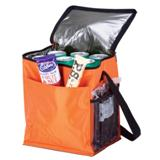 12-Can Cooler With 2 Exterior Pockets - 70D/PEVA Lining - Orange