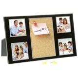 Brushed Aluminium Memo Pin Board and Photo Frame - Black