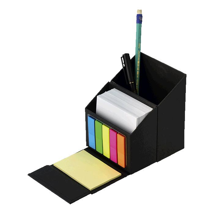 Flip Open Desk Organiser With Sticky Notes - Avail in: Black