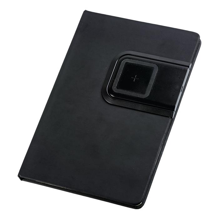 A5 PU Notebook With Removable Wireless Charger - Avail in: Black