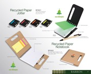 Recycled Paper Notebook With Pen, Sticky Flags & Memo Notes - Na