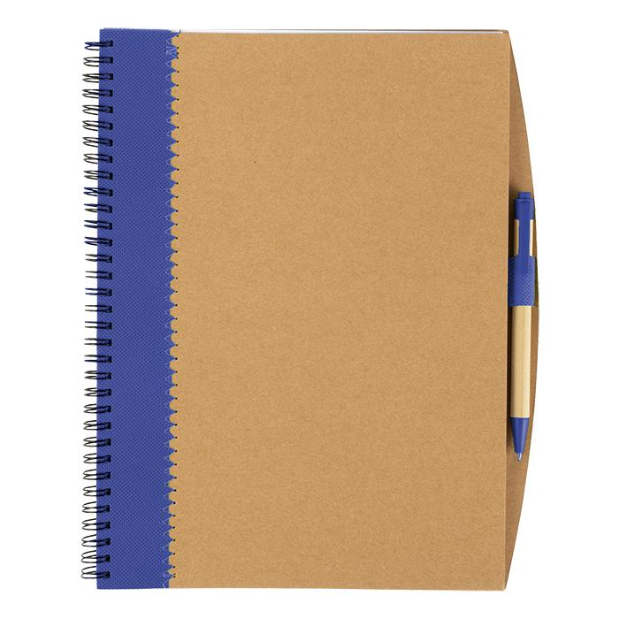 Recycled Cardboard Notebook With Pen - Avail in: Blue, Black or