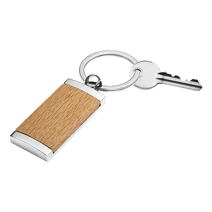 Wooden Keychain With Metal Trim - Avail in: Brown