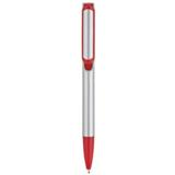 Silver Barrel Push Clip Ballpoint Pen - Orange