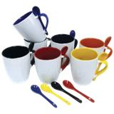 345ml Ceramic Mug with Spoon - Navy, Yellow, Bottle Green, Black