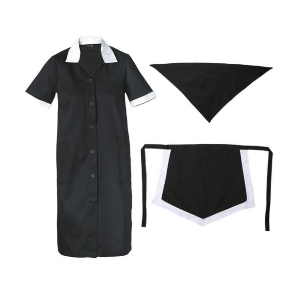 Ladies Poly Cotton 3 Piece Set - Available in: Black/White, Emer